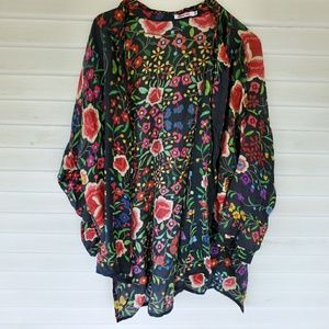 Johnny Was - Black Floral Blouse Silk